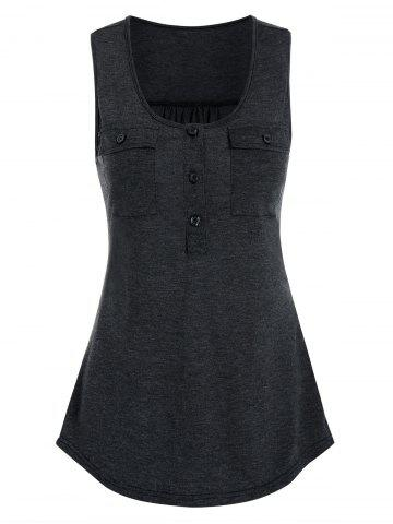 Double Pockets Henley Tank Top