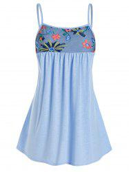 Plus Size Embroidered Mesh Swing Cami Top -