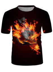 Flaming Skull Graphic Crew Neck Casual T Shirt -