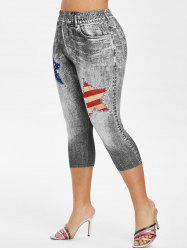 Plus Size American Flag 3D Destroyed Print Capri Jeggings -