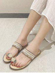 Pineapple Toe Ring Faux Pearl Slides Sandals -