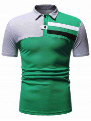 Colorblock Panel Turn-down Collar T-shirt -