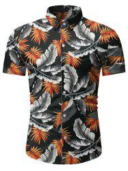 Tropical Leaf Pattern Beach Shirt -