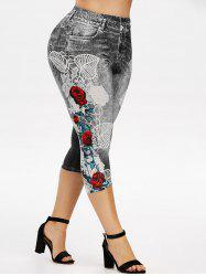 Plus Size Floral 3D Denim Print Capri Jeggings -