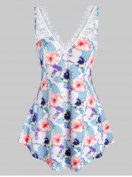 Plus Size Flower Lace Panel Curved Backless Tank Top -
