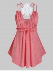 Plus Size Embroidery Back Ruffle Tank Top -