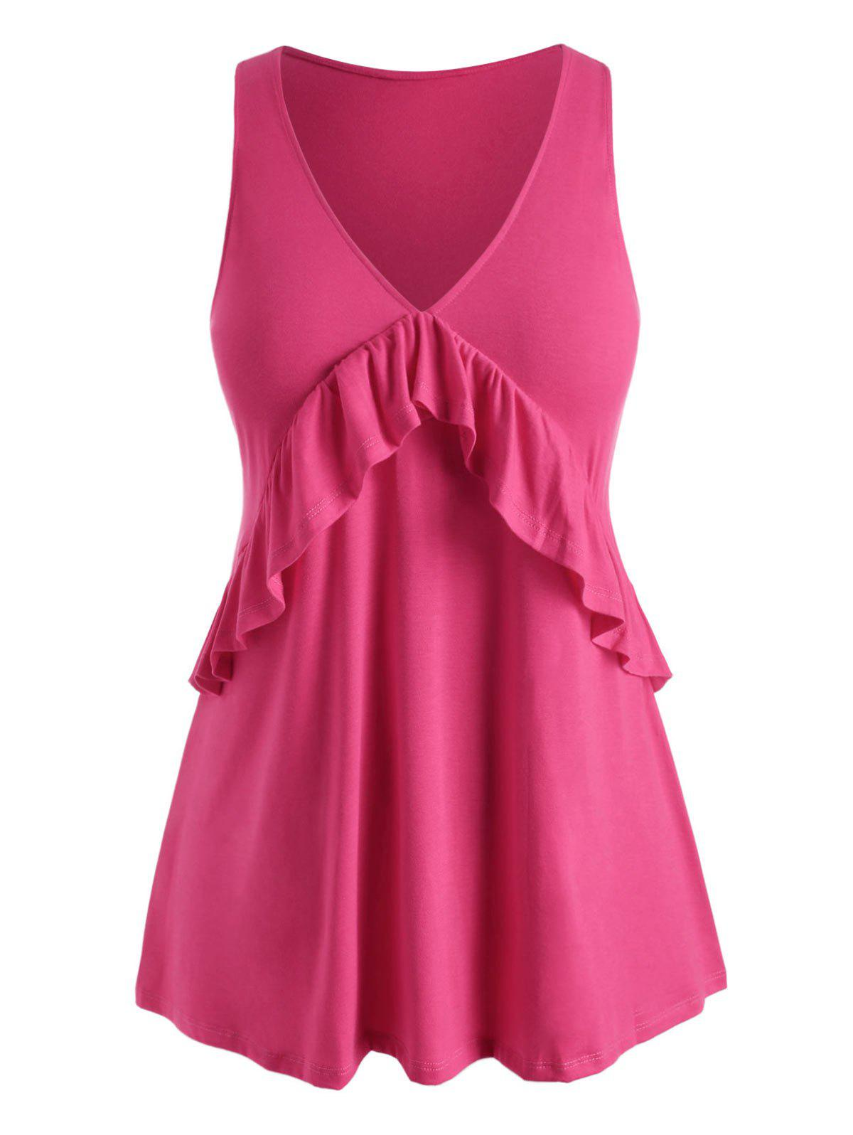 Best V Neck Solid Ruffles Plus Size Tank Top