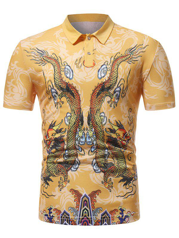 Latest Double Dragon Pattern Oriental T-shirt