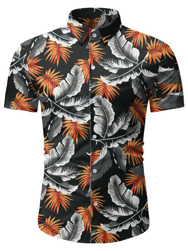 Discount Tropical Leaf Pattern Beach Shirt