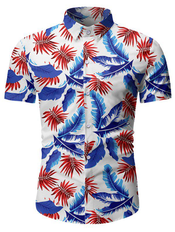 Online Tropical Leaf Pattern Beach Shirt