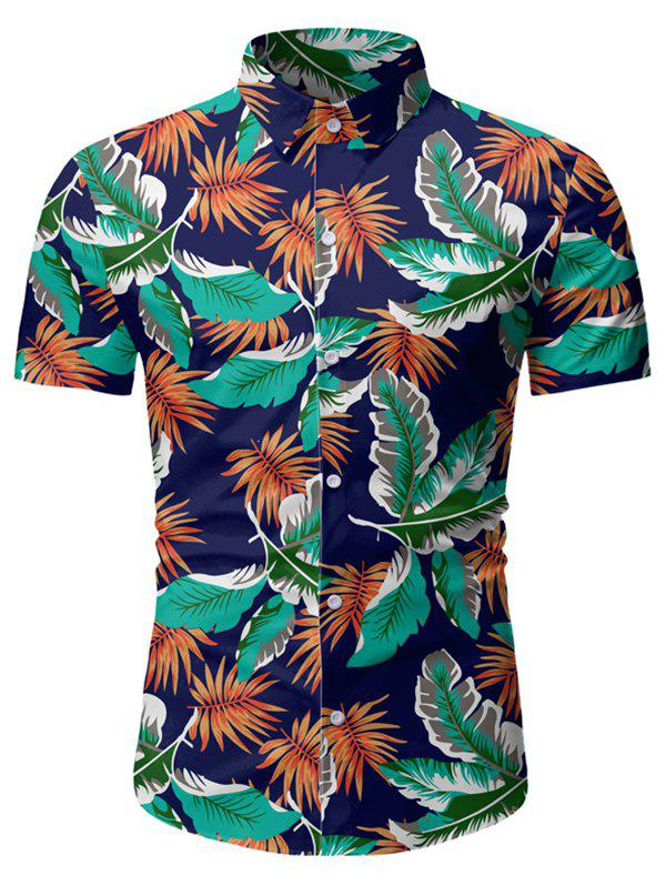 New Tropical Leaf Pattern Beach Shirt