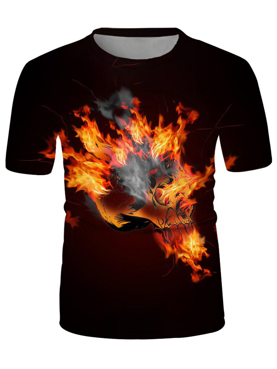 Affordable Flaming Skull Graphic Crew Neck Casual T Shirt