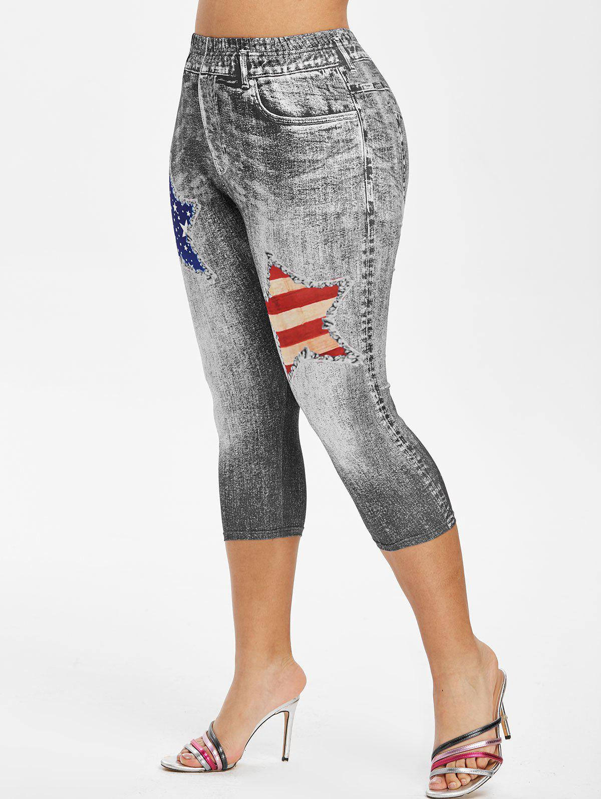 Latest Plus Size American Flag 3D Destroyed Print Capri Jeggings