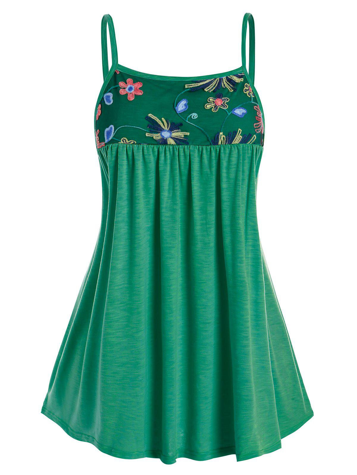 Fashion Plus Size Embroidered Mesh Swing Cami Top