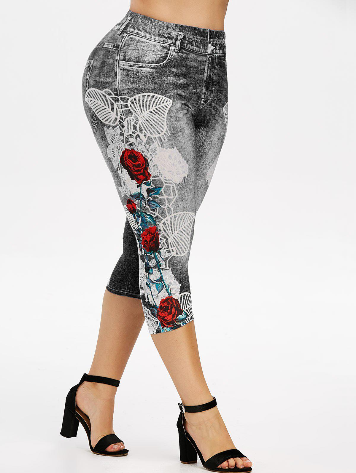 Outfit Plus Size Floral 3D Denim Print Capri Jeggings