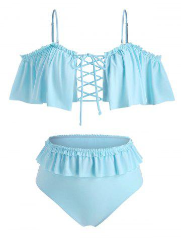 Plus Size Cold Shoulder Ruffled Lace Up Two Piece Swimwear
