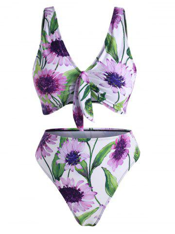 Sunflower Knot High Waisted Bikini Swimwear - WHITE - 2XL