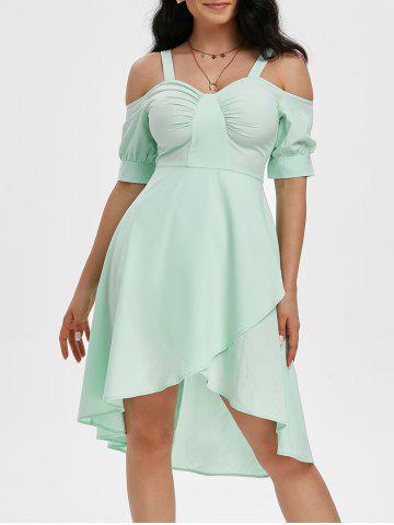 Ruched Cold Shoulder Overlap Dress