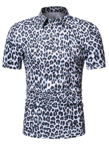 Leopard Print Turn Down Collar T-shirt - WHITE - 2XL
