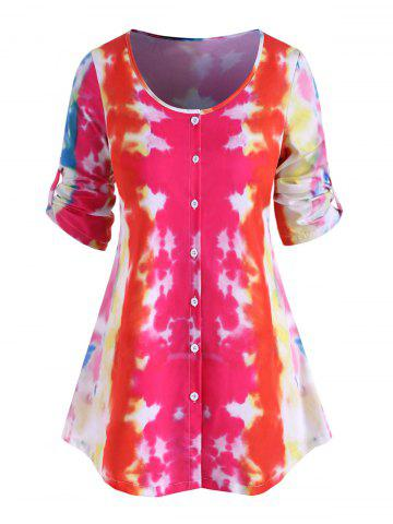 Plus Size Tie Dye Button Up Blouse - RED - 5X