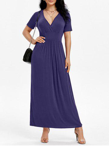 Side Pockets Long Surplice Dress