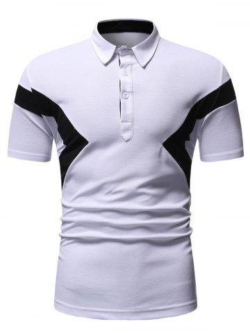 Colorblock Patch Turn-down Collar T-shirt - WHITE - 2XL