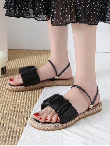 Ruched Leather Convertible Strap Flat Sandals - BLACK - EU 40