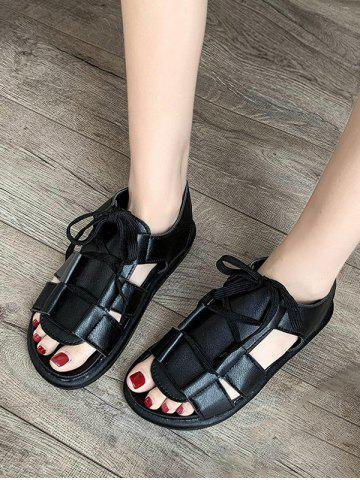 Pure Color Casual Lace Up Sandals - BLACK - EU 39