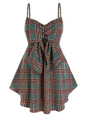 Plus Size Plaid Bowknot Backless Tunic Cami Top