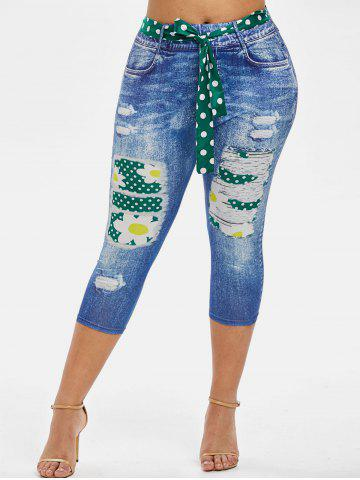 3D Print Dotted Daisy Belted Plus Size Capri Jeggings - GREEN - 5X