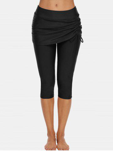 Mid-rise Cinched Skirted Capri Swim Pants - BLACK - XL