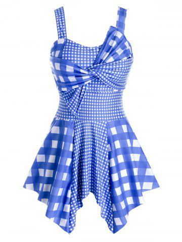 Plus Size Plaid Twist Handkerchief Asymmetric Tankini Swimwear