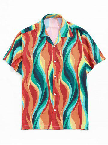 Colored Flame Print Notched Collar Shirt - ORANGE - XL