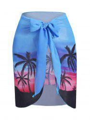 Plus Size Palm Tree Sunset Print Wrap Cover Up Skirt -