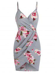 Flower Print Spaghetti Strap Ruched Tulip Dress -