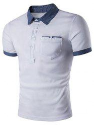 Contrast Patch Pocket Turn-down Collar T-shirt -