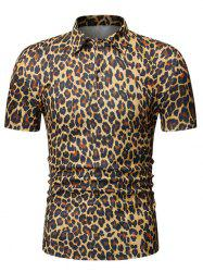 Leopard Print Turn Down Collar T-shirt -