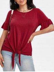 Ruffled Cuffs Self-tie Top -