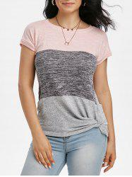 Batwing Sleeve Colorblock Twisted T-shirt -