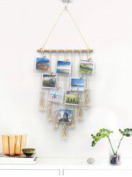 Home Decor Tasseled Macrame Wall Hanging Photo Holder with Clips -