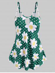 Keyhole Strappy Daisy Dotted Plus Size Cami Top -