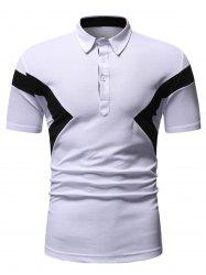 Colorblock Patch Turn-down Collar T-shirt -