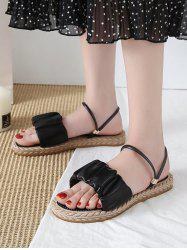 Ruched Leather Convertible Strap Flat Sandals -