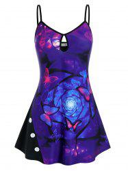 Plus Size Keyhole Binding Butterfly Print Backless Cami Top -