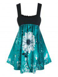 Plus Size 3D Flower Print Empire Waist Tank Top -