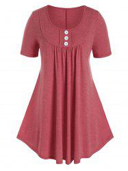 Plus Size Button A Line Round Collar T-shirt -