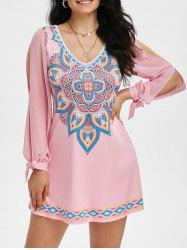 Tribal Print V Neck Knotted Split Sleeve Dress -