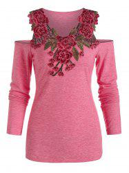 Cold Shoulder Flower Lace Insert Heathered T-shirt -