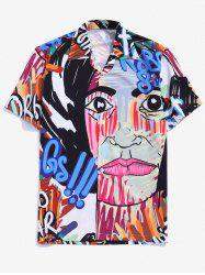Graffiti Graphic Print Camp Collar Shirt -