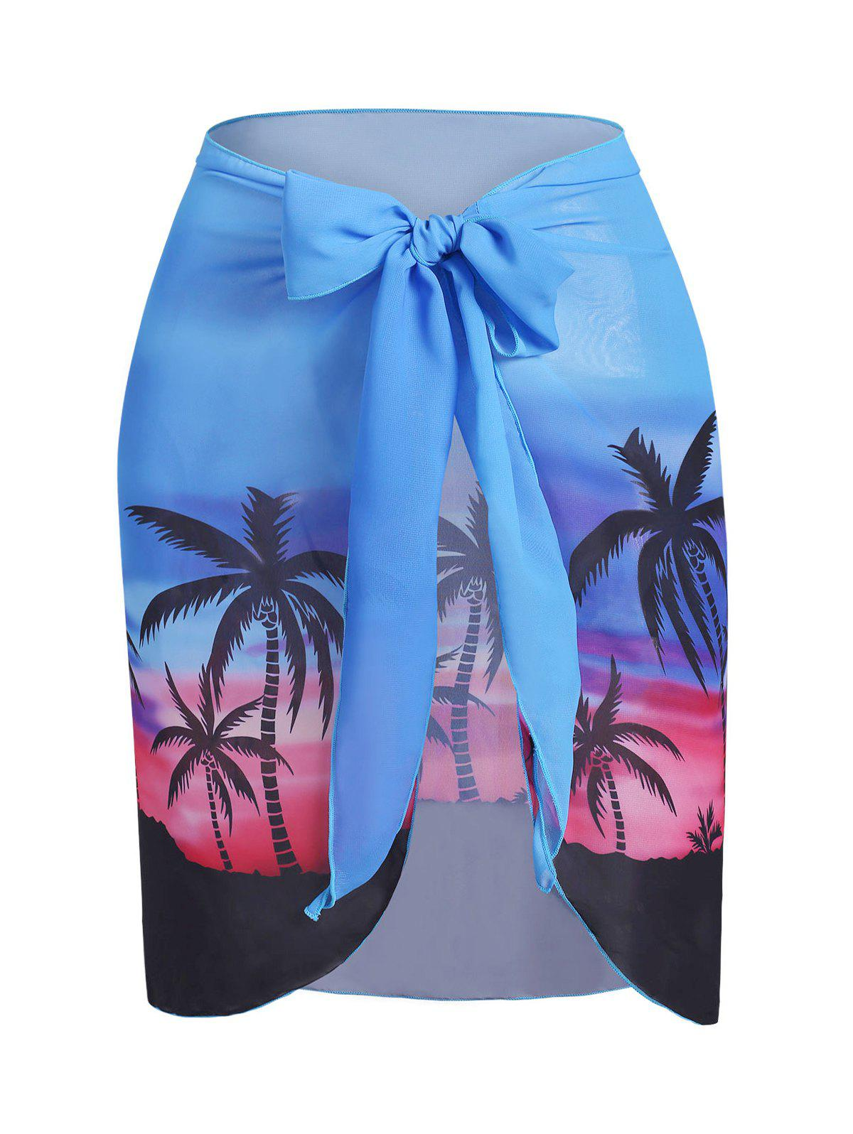 Chic Plus Size Palm Tree Sunset Print Wrap Cover Up Skirt